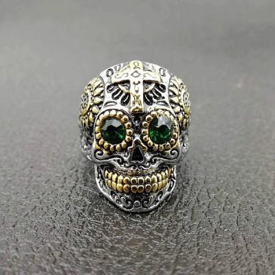 Cool Emerald Eyes Titanium Skull Ring for Men