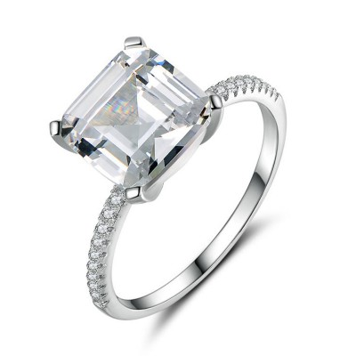 Princess Cut White Sapphire 925 Sterling Silver Classic Engagement Ring
