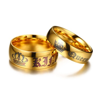 King & Queen Gold Titanium Couple Rings