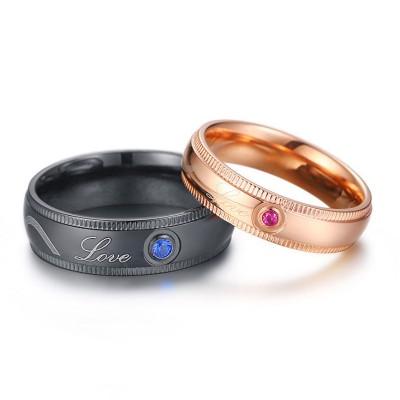 Love Black & Rose Gold Titanium Couple Rings