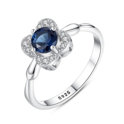 Round Cut Blue Sapphire 925 Sterling Silver Promise Ring