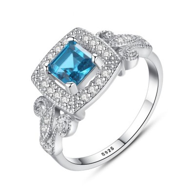 Princess Cut Aquamarine 925 Sterling Silver Promise Ring