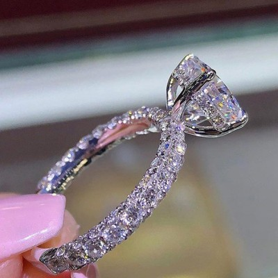 Round Cut White Sapphire Classic Engagement Rings