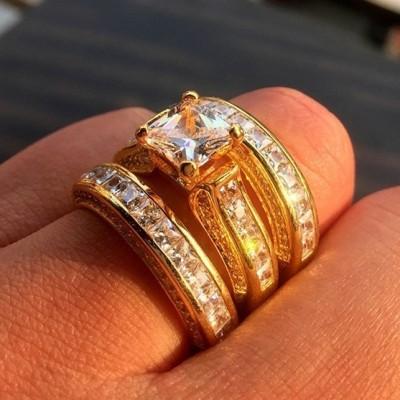 Princess Cut White Sapphire Gold 3-Piece Bridal Sets