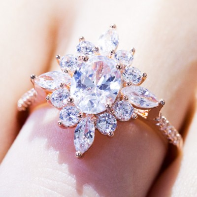 Oval Cut White Sapphire Rose Gold Bridal Sets