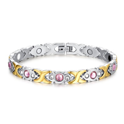 Pink Sapphire Silver and Gold 925 Sterling Silver Bracelet