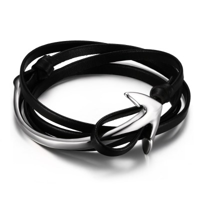 Black Leather Silver Anchor 925 Sterling Silver Bracelet