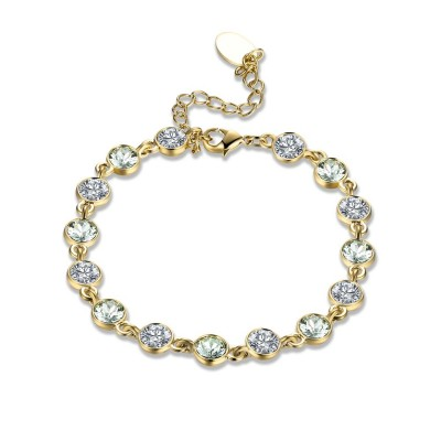 Round Cut White/Black/Light Blue Sapphire Gold/Silver Titanium Bracelets