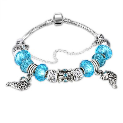 Rose Red/Aquamarine/Black/Light Blue Silver Titanium Bracelets