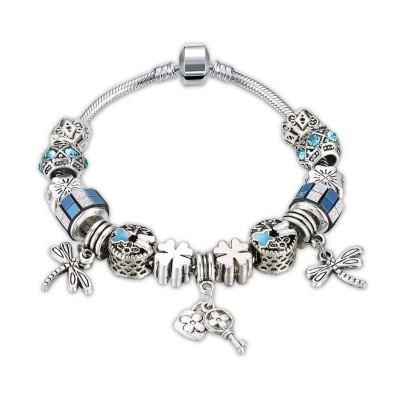 Aquamarine/Red/White/Blue Silver Titanium Bracelets