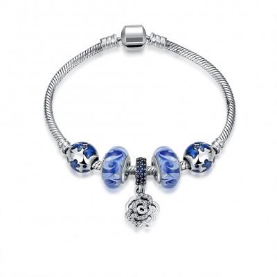 Blue Accessories Flower Pendant S925 Silver Bracelets