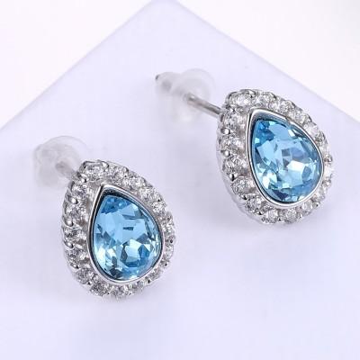 Cute Pear Cut Aquamarine S925 Silver Earrings