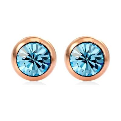 Round Cut Aquamarine/Amethyst/Pink Sapphire S925 Silver/Rose Gold Earrings