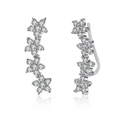 Elegant Round Cut White Sapphire S925 Silver Earrings