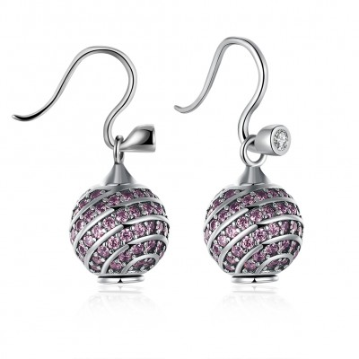 Round Cut Pink/White Sapphire S925 Silver Earrings