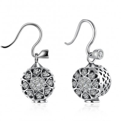 Round Cut Nice White Sapphire S925 Silver Earrings