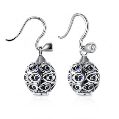 Round Cut Blue Sapphire S925 Silver Earrings