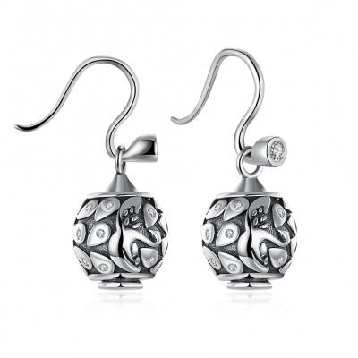 Round Cut White Sapphire Art S925 Silver Earrings
