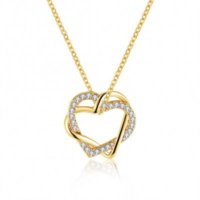 Hearts Round Cut White Sapphire Gold/Rose Gold Titanium Necklaces