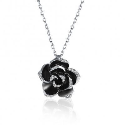 Rose Round Cut White Sapphire Gold/Rose Gold/Silver Titanium Necklaces