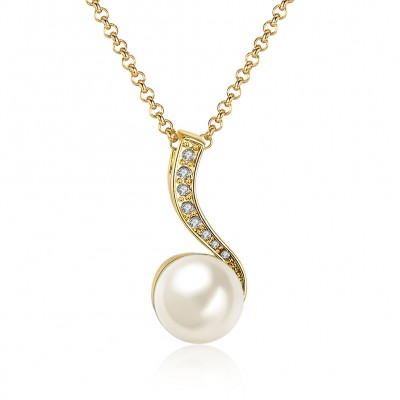 Pearl Round Cut White Sapphire Gold/Silver Titanium Necklaces