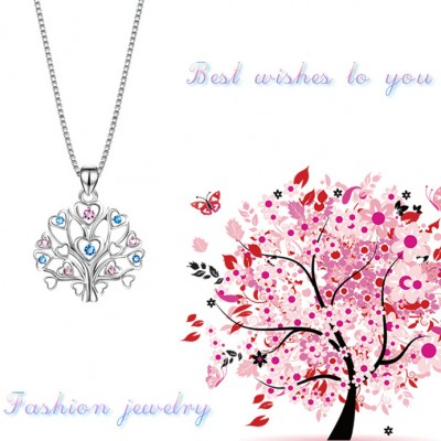 Tree Of Life 925 Sterling Silver Pink & Aquamarine Necklace
