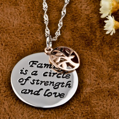 Family 925 Sterling Silver Rose Gold Tree Necklace