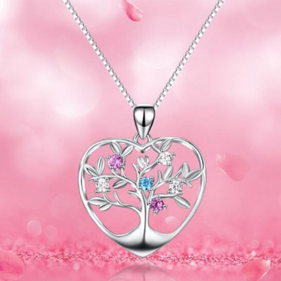 Tree Of Life 925 Sterling Silver Pink & Aquamarine Zircon Necklace