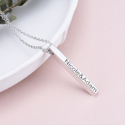 925 Sterling Silver 3D Engraved Vertical Bar Necklace