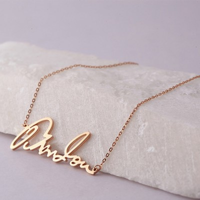 925 Sterling Silver Rose Gold Personalized Signature Name Necklace
