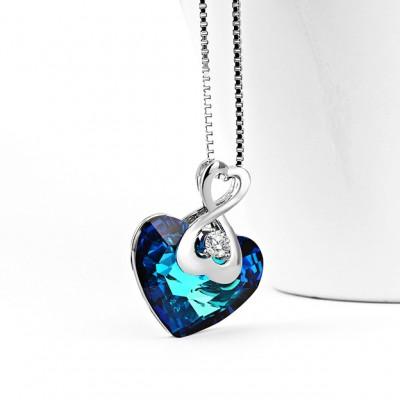 Swarovski Crystal 925 Sterling Silver Infinity Zircon Necklace