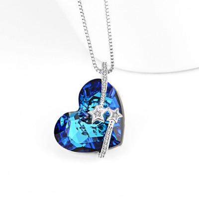 Swarovski Crystal 925 Sterling Silver Stars Zircon Necklace