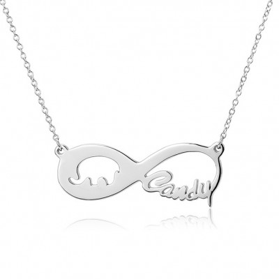 925 Sterling Silver Infinity Love Elephant Engraved Necklace