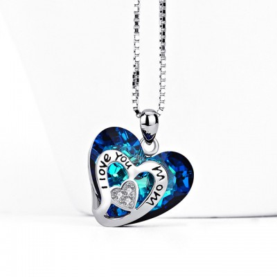 Gift for Mom Swarovski Crystal 925 Sterling Silver Heart Necklace