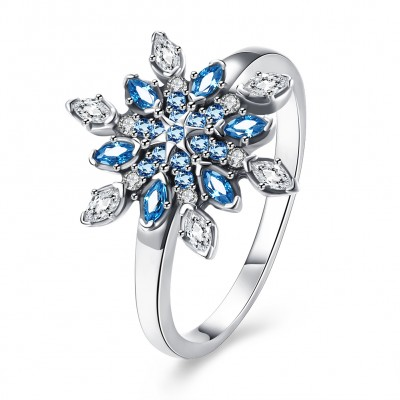 Marquise Cut Aquamarine and White Sapphire S925 Silver Rings