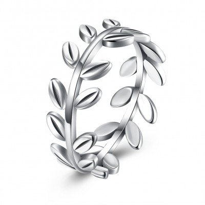 Leaf S925 Silver Bands Bands Promise Rings