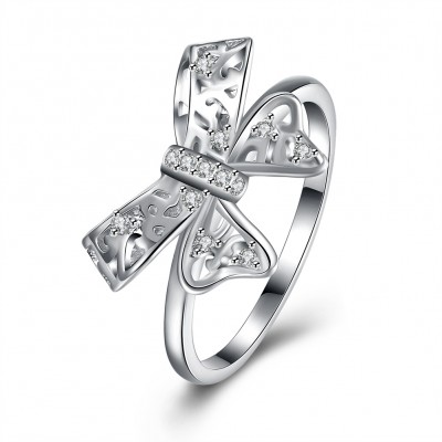 Round Cut White Sapphire S925 Silver Bowknot Promise Rings