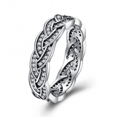Round Cut White Sapphire S925 Silver Infinity Rings