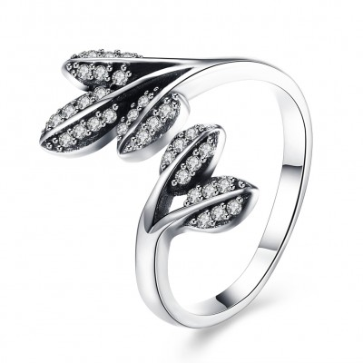 Leaf Round Cut White Sapphire S925 Silver Promise Rings