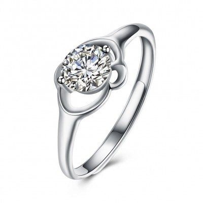 Round Cut White Sapphire Gorgeous S925 Silver Engagement Rings