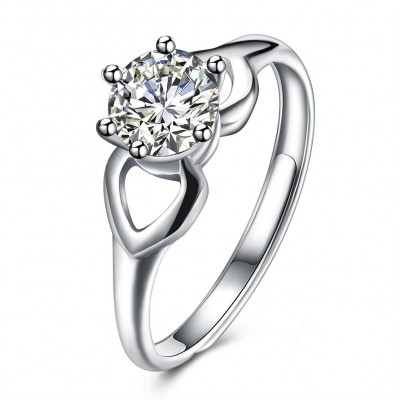Round Cut White Sapphire S925 Silver Nice Engagement Rings