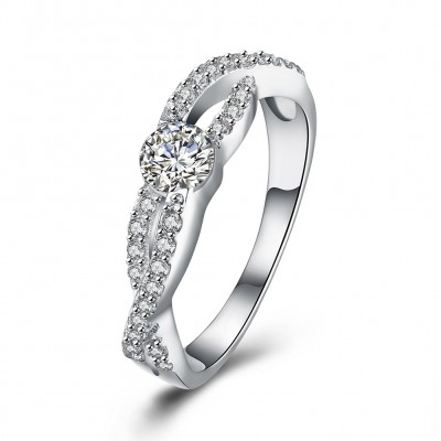 Round Cut White Sapphire S925 Silver Engagement Rings