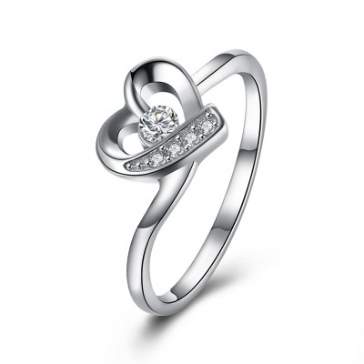 Round Cut White Sapphire S925 Silver Promise Rings