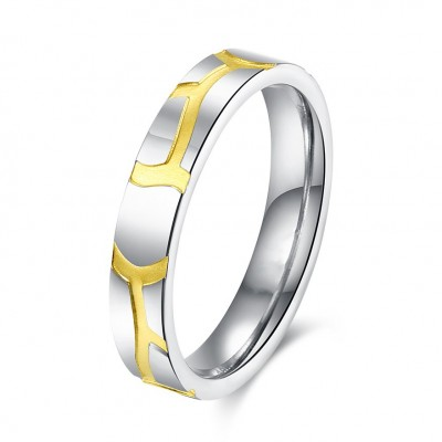 Silver and Gold Titanium Bands Rings for Women