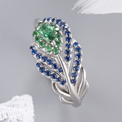 Pear Cut Emerald 925 Sterling Silver Feather Rings