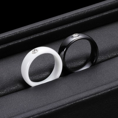 Round Cut Black and White Ceramic Couple Rings