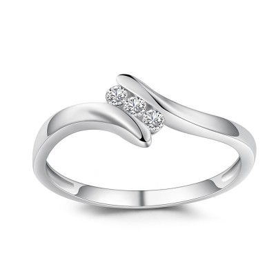 Round Cut 1/6CT Gemstone Sterling Silver Engagement Ring