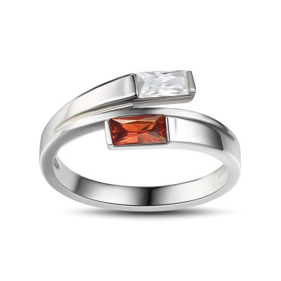 Emerald Cut Ruby Sterling Silver Cocktail Ring