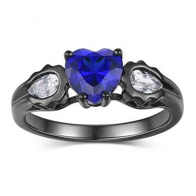 Heart Cut Blue Sapphire s925 Silver Promise Rings For Her