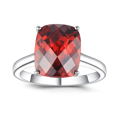 Cushion Cut Ruby 925 Sterling Silver Birthstone Ring